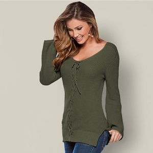 Venus (Olive) Lace Up Detail Sweater - NEW